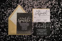 Black and Gold Glitter - Foil + Digital Printing Formal Wedding invitations *Cost is for one Sample Only, as shown in photos above. Custom request samples are not available* ______________________ MORE PRODUCTS AND VERSIONS ARE AVAILABLE OUR WEBSITE. ______________________ Thanks for