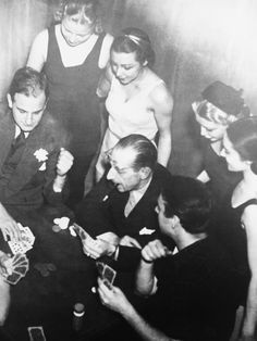 Igor Stravinsky playing poker at a party.