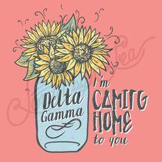 Delta Gamma | DG | Mason Jar Tee Shirt Design | Sunflower Tee Shirt Design | I'm…