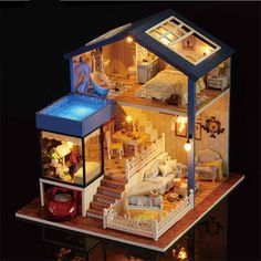 Diy Dollhouse Wooden Miniature Furniture Kit Mini House with LED Best Valentines Day Gifts for Husband & Wife ,Kid Toy Birthday Favour Gifts, Dollhouse Kits, Wooden Dollhouse, Dollhouse Miniatures, Diy Kitchen Furniture, Diy Furniture, Furniture Projects, Diy Projects, Music Furniture, Led Lighting Home