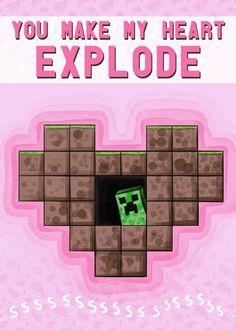 Have a Nerdy Valentine's Day: Super Geeky Valentine Cards Nerd Valentine, Homemade Valentines, Valentines Day, Valentine Cards, Valentine Ideas, Minecraft Funny, Minecraft Party, Minecraft Stuff, Candy Minecraft
