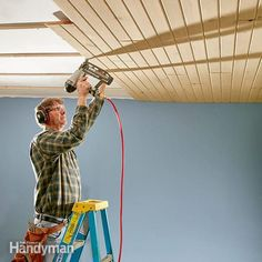 The T&G you'll find at home centers and lumberyards is or spruce. Other wood plank ceiling options and shiplap ceiling can be ordered Wood Plank Ceiling, Shiplap Ceiling, Wood Ceilings, Drywall Ceiling, Bead Board Ceiling, Wood Paneling, Wood Planks, Ceiling Fans, Wood On Ceiling Ideas