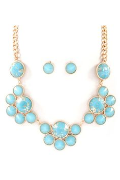 Avi Necklace in Gold Flake Turquoise