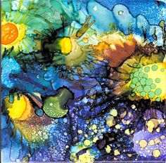 Alcohol Ink Painted Ceramic Tile Original Art by shbknits on Etsy, $19.00