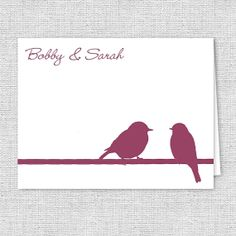 Love Birds Note Cards  Set of 10  Personalized Thank by AJsPrints, $12.50