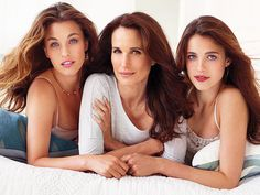 Andie MacDowell with gorgeous daughters Rainey and Margaret.