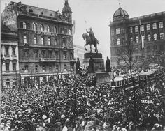 Czechoslovakia declares independence from the Austro-Hungarian Empire in Wenceslas Square in Prague, October 28 Kingdom Of Bohemia, Carinthia, Prague Czech Republic, Heart Of Europe, Prague Castle, Austro Hungarian, South Tyrol, Central Europe, Bratislava
