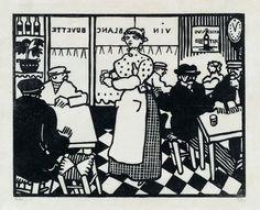 JEAN-ÉMILE LABOUREUR   Le Vin Blanc.   Woodcut, 1913