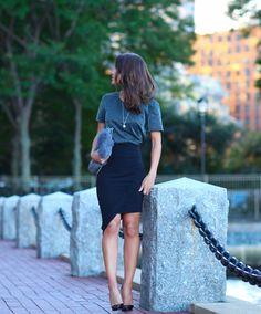 Super Vaidosa  » Look do dia: Pencil skirt & lurex top!