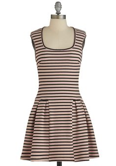 Atlanta by Day Dress - Pink, Black, Stripes, Pleats, Casual, A-line, Cap Sleeves, Good, Scoop