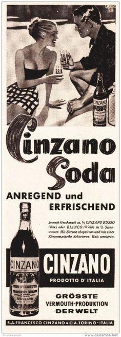 Original-Werbung/ Anzeige 1950 er Jahre - Cinzano - ca. 80 x 200 mm