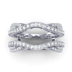 0.75 Carat (ctw) 14k White Gold Round Diamond Wedding Band Enhancer Guard Double Ring 3/4 CT