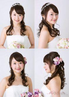 花嫁髪型 ハーフアップ カチューシャ かわいい