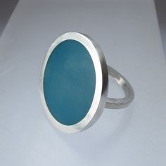 Round Resin Statement Ring Silver and Resin by QuercusSilver, $98.00