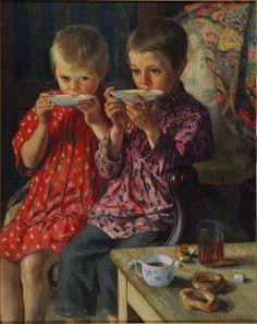 Nikolajs Bogdanovs-Belskis (1868-1945) - On a Visit, 1920's