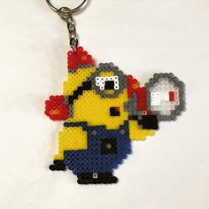 Minion keyring hama mini beads by jon_aben