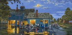 """Sams Place"" Signed, Open Edition Paper prints 24""x11.75"" image sizeQuantity Very Low -Motorcycle Paintings by Dave Barnhouse"
