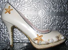white pearl beach wedding heels with sand shells by STEAMHATTER, $75.00
