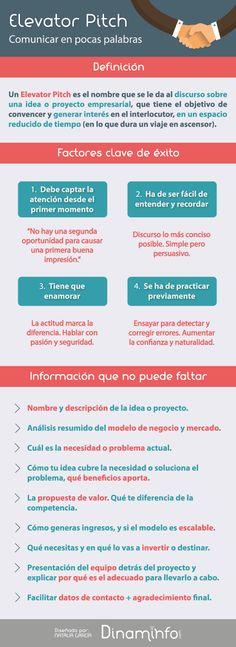 Elevator Pitch, comunicar en pocas palabras #infografía