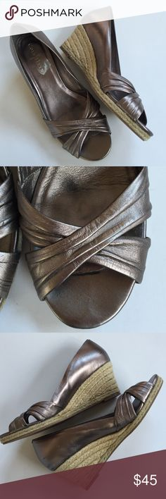 """EUC Cole Haan/Nike Air leather wedges Excellent condition; Gorgeous pewter leather with 2 1/2"""" wedge and 1/2"""" platform; Nike Air technology for comfort; exquisite Cole Haan quality, design, craftsmanship, and comfort. Smoke-free/pet-free home. Cole Haan Shoes Wedges"""