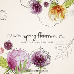 Hand painted spring flowers background Free Vector