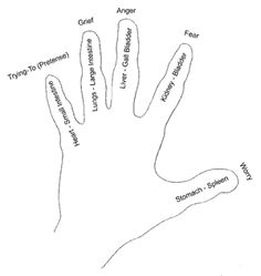 Jin Shin Jyutsu (chart for hands). It is fairly simple acupressure that one can perform on oneself.