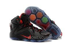 dd1d1b2f9bc6 Nike LeBron 12 Black Red Mens Basketball Shoes Authentic AMDEZ