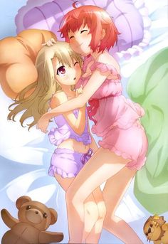 Anime picture 4082x5944 with  fate (series) fate/kaleid liner prisma illya nyantype illyasviel von einzbern tanaka (fate/kaleid liner prisma illya) long hair tall image blush short hair highres blonde hair red eyes smile multiple girls red hair eyes closed absurdres loli official art hug