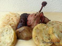 Slovak baked duck with bread dumplings (ingredients similar to stuffing, instead of baking dumplings are boiled) Pečená kačica ~ iGURMAN.com (Slovak language)