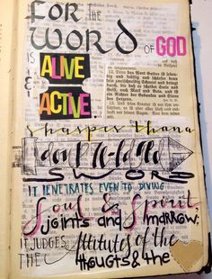 Hebrews 4:12 the word of God is active and alive  Bible Art journaling by Rebecca Sawatsky