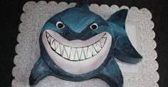 """This 9 inch double-tiered marble cake with chocolate filling, is Bruce the Shark from """"Finding Nemo"""". My Sister-in-law wanted a realisti..."""