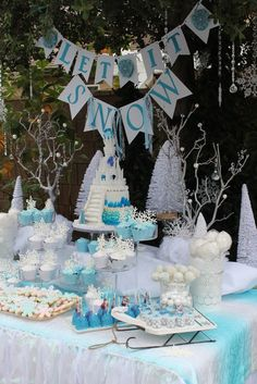 So many gorgeous sweets at a Frozen Birthday Party!  See more party ideas at CatchMyParty.com!