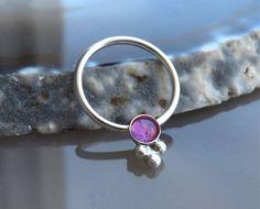 Silver septum ring with pink tourmaline Pink tourmaline