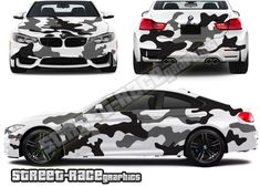Army Snow camouflage cut vinyl vehicle graphics shown on a BMW Bmw M4, Car Wrap, Car Stuff, Camouflage, Wraps, Army, Craft Ideas, Snow, Graphics