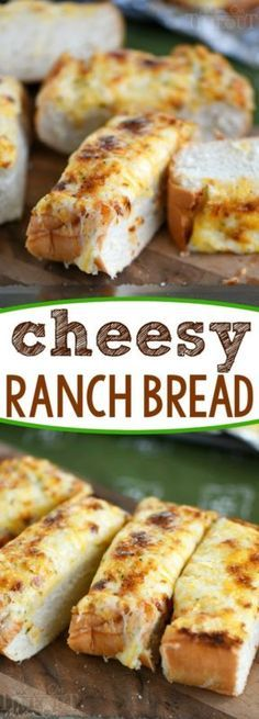 Cheesy Ranch Bread - my favorite words! This easy cheesy bread is made in less than 10 minutes and uses only 4 ingredients! Great for parties and BBQs!