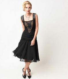 Unique Vintage 1920s Beaded Black La Plante Chiffon Flapper Dress