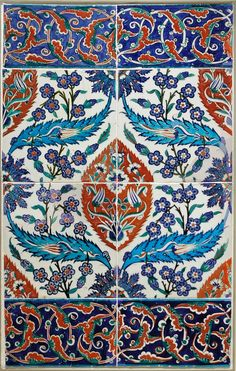 Tile panel with mandorla. Fritware (in stonepaste), transparent glaze, painted on underglaze slip. Turkey: Iznik, second half of the century. Tile Art, Mosaic Tiles, Ceramic Pottery, Pottery Art, Spider Art, Tile Panels, Glazed Tiles, Art And Craft Design, Turkish Art
