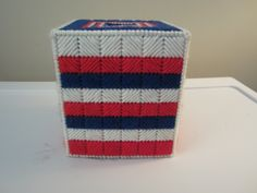RED WHITE & BLUE Striped Tissue Box Cover in Plastic Needlepoint by CREATIONSBYJEANNIE on Etsy