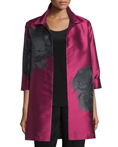 Rio+Rose+Open-Front+Party+Jacket,+Deep+Pink/Black,+Plus+Size+by+Caroline+Rose+at+Neiman+Marcus.