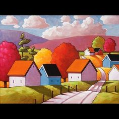 12x16 Sunny Roadway Original Modern Folk Art Landscape Abstract Painting Horvath   eBay