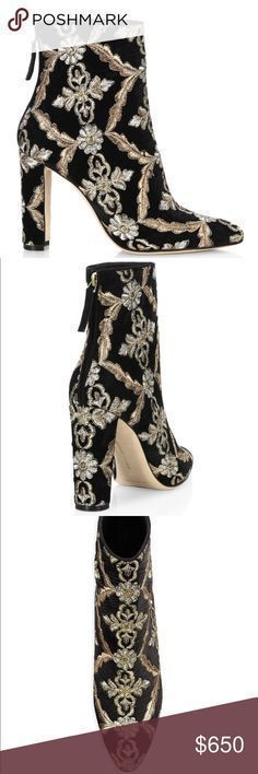 "Manolo Blahnik Isola Booties. Brand New Beautiful Manolo Blahnik velvet bootie with metallic floral embroidery. 3.5"" covered block heel. Round toe. Back zip eases dress. Leather lining and sole. Isola"" is made in Italy. Color: black velvet multi Manolo Blahnik Shoes Ankle Boots & Booties #manoloblahnikheelsbeautiful"