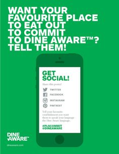 Want food & beverage staff to speak your food allergy or intolerance #FAI 'language'?    Use this poster and ask establishments to #plscommit to making eating out confident and inclusive again.