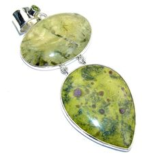 $112.15 Big!+Secret+AAA+Green+Moss+Prehnite++Atlantisite+Sterling+Silver+Pendant at www.SilverRushStyle.com #pendant #handmade #jewelry #silver #prehnite