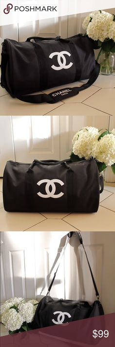 """🔥LAST ONE🔥Authentic Chanel Vip Gym Duffle Bag Authentic Chanel Vip Gift Gym Duffle Bag   CHANEL VIP GIFT TRAVEL BAG GYM BAG CROSS BODY BAG SHOULDER BAG -NEW New in original packaging. Authentic VIP Gift given when you make a certain amount purchase to qualify for their free gift offers. This was a VIP gift from Chanel Beaute corner, does NOT come with hologram sticker, serial number or tags. Dimensions L 48cm X H 32cm In inches L 19"""" X H 13"""" CHANEL Bags Shoulder Bags"""