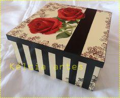 caixa organizadora (pintura, carimbos e decoupagem)
