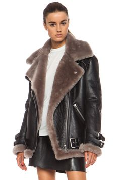 Image 3 of Acne Studios Velocite Leather Jacket in Black & Stone