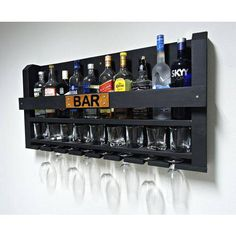 Home Bar nook Wine Glass Rack, Wine Rack Wall, Bar Sala, Home Bar Cabinet, Game Room Bar, Home Bar Decor, Home Bar Designs, Wine Shelves, Wooden Pallet Projects