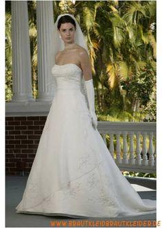 Elegantes Brautkleid aus Satin A-Linie mit Applikation 2013