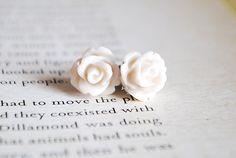 New to Onetenzeroseven on Etsy: Cream Rose Earrings Nickel Free Studs - Whipped Cream (4.50 GBP)