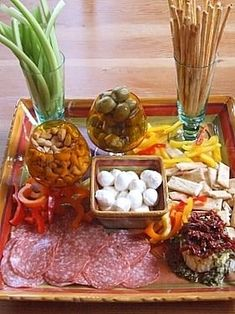 10. Put It on a Tray - 28 #Delicious Antipasto Arrangements for Your Next #Party ... → #Food [ more at http://food.allwomenstalk.com ]  #Arrangements #Huge #Kabobs #Crowd #Salad